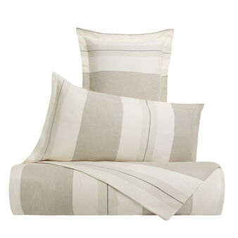 Striped cotton and linen blend duvet cover set