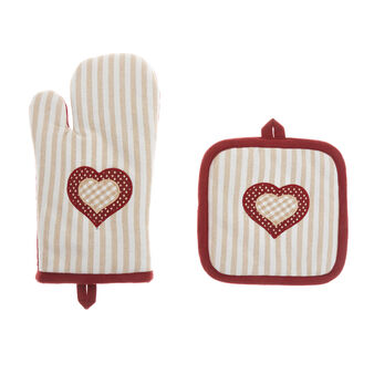 Pot holder and oven mitt set in 100% cotton with polka dots and stripes