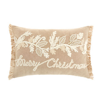 Cushion with embroidered Merry Christmas motif 35x50cm