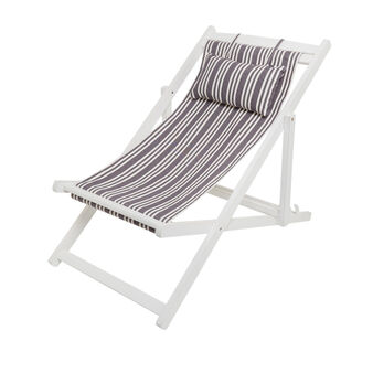 Beach deckchair in cotton and wood