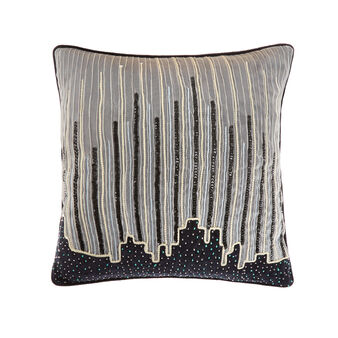 Cushion with city embroidery 45x45cm