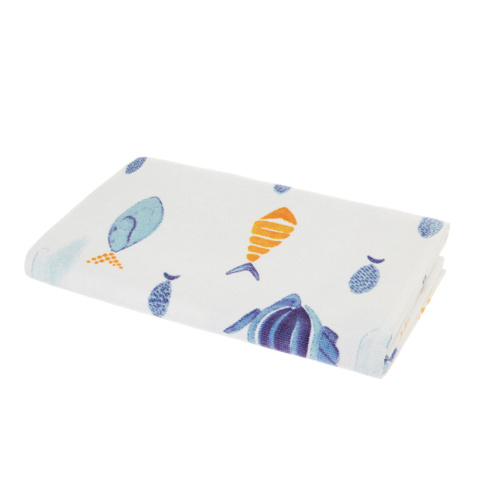 Velour cotton towel with fish motif