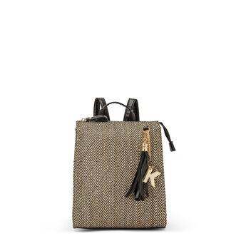 Bi-material backpack with fantasy
