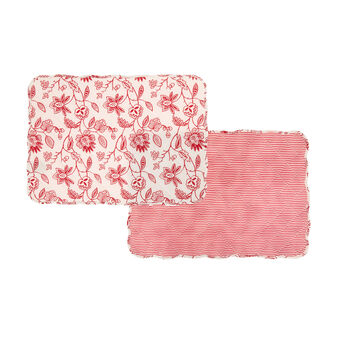 Set of 2 printed 100% cotton placemats