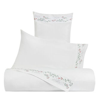 Bed linen set in cotton percale with botanic embroidery