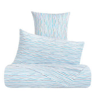 Cotton percale duvet cover with thin stripes