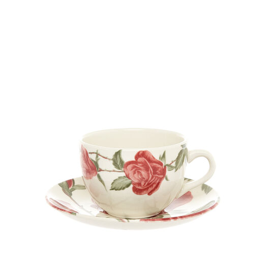 Ceramic tea cup with floral decoration