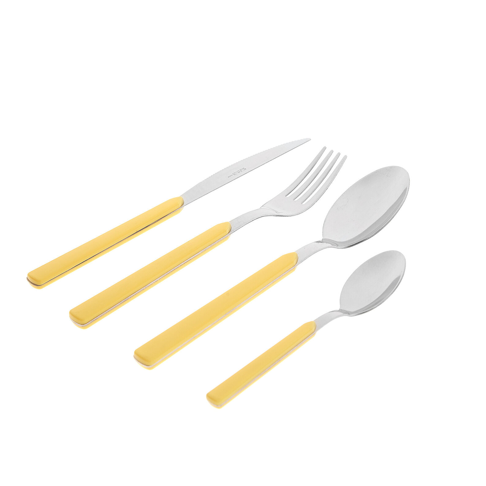 Set of 24 steel and plastic cutlery