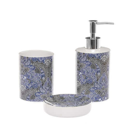 Set 3 accessori bagno ceramica decorata