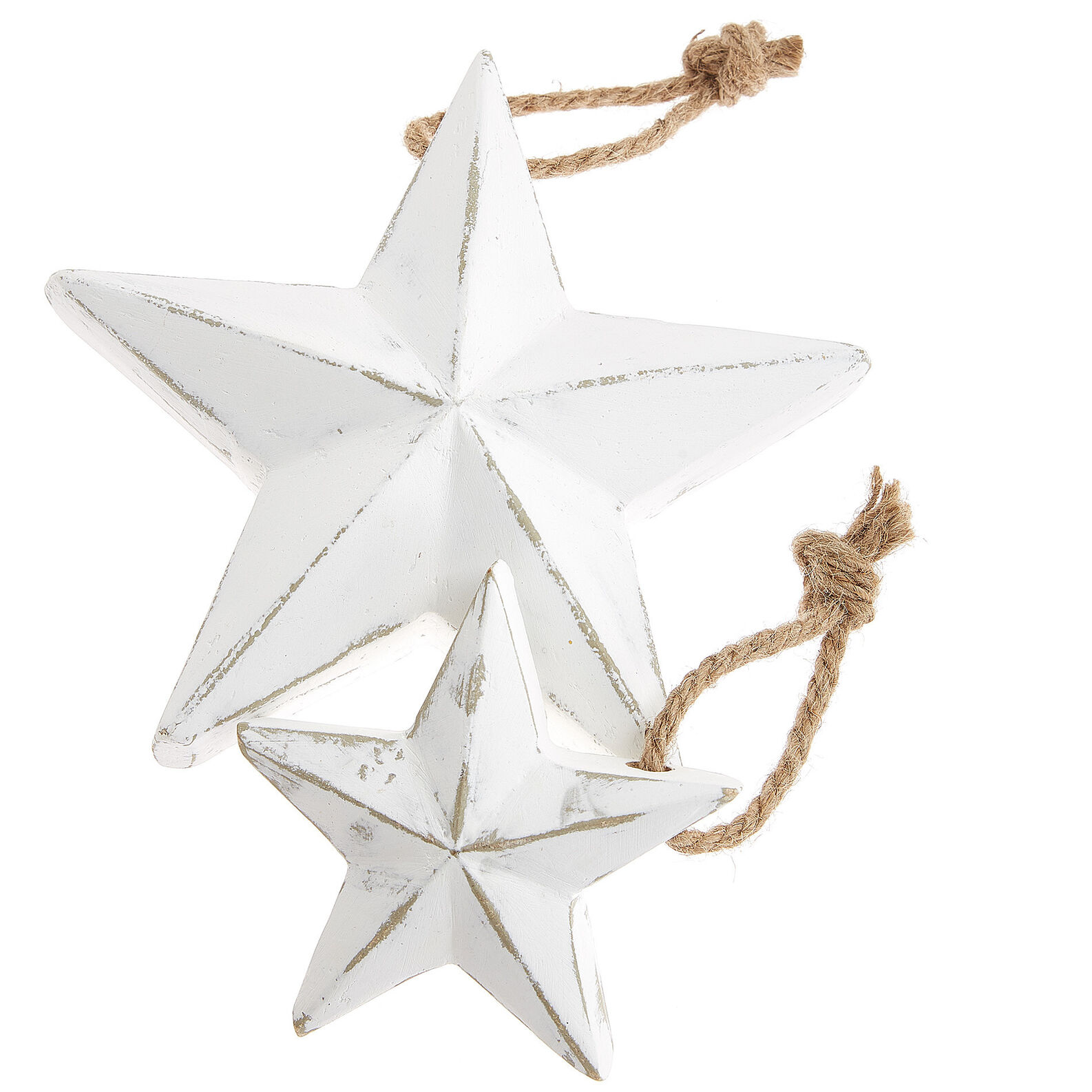 Star decoration in bleached wood