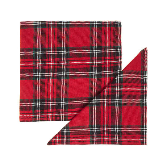 Set of 2 napkins in cotton twill with tartan motif
