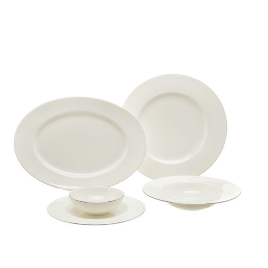 Piatto da portata ovale new bone china bordo platino  Roma