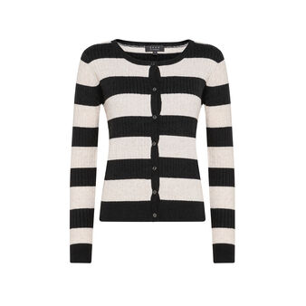 Striped woven cardigan