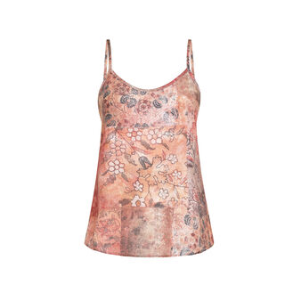 Tank top in pure linen with floral pattern