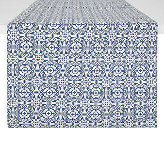 Lined 100% cotton table runner with majolica print