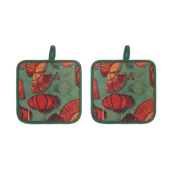 2-pack pot holders in 100% cotton with fans print