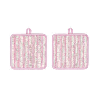 Set of 2 pot holders in 100% cotton with decorative stripes