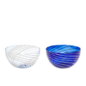 Small striped bowl in borosilicate glass