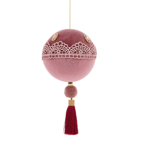 Hand-decorated velvet bauble