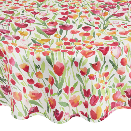 100% cotton round tablecloth with tulips print