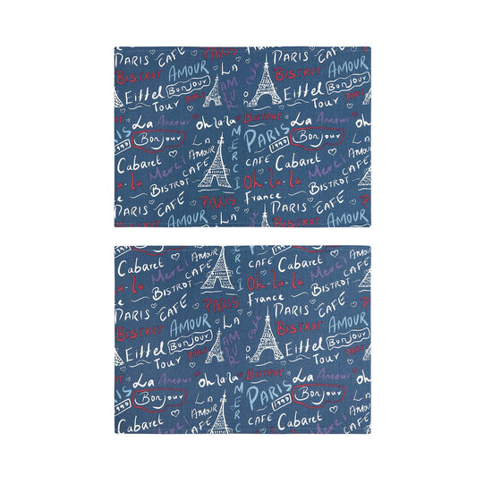 Set of 2 table mats in 100% cotton with Paris print