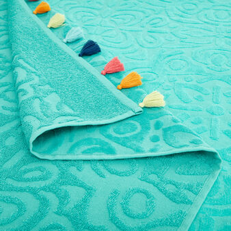 Cotton velor beach towel with tassels