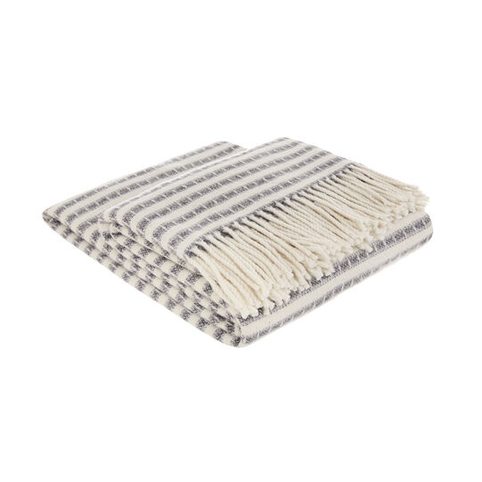 Striped lambswool blend throw