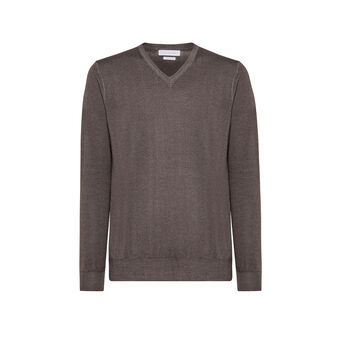 V-neck pullover in merino wool