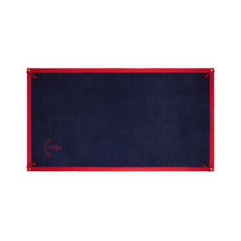 Cotton terry beach towel with anchor motif