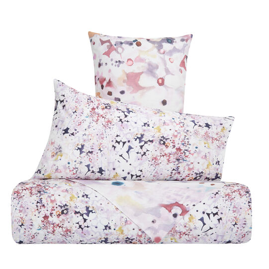 Duvet cover set in cotton percale with flowers