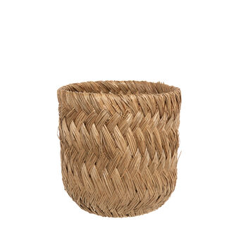 Hand-woven rattan and bamboo basket.