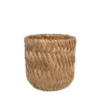 Cesto in rattan e bamboo intrecciato a mano