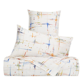 Duvet cover set in cotton percale with abstract pattern