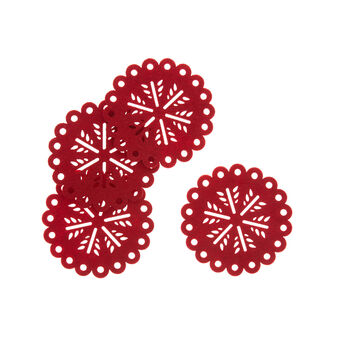 Set of 4 drinks coasters in Christmas motif felt