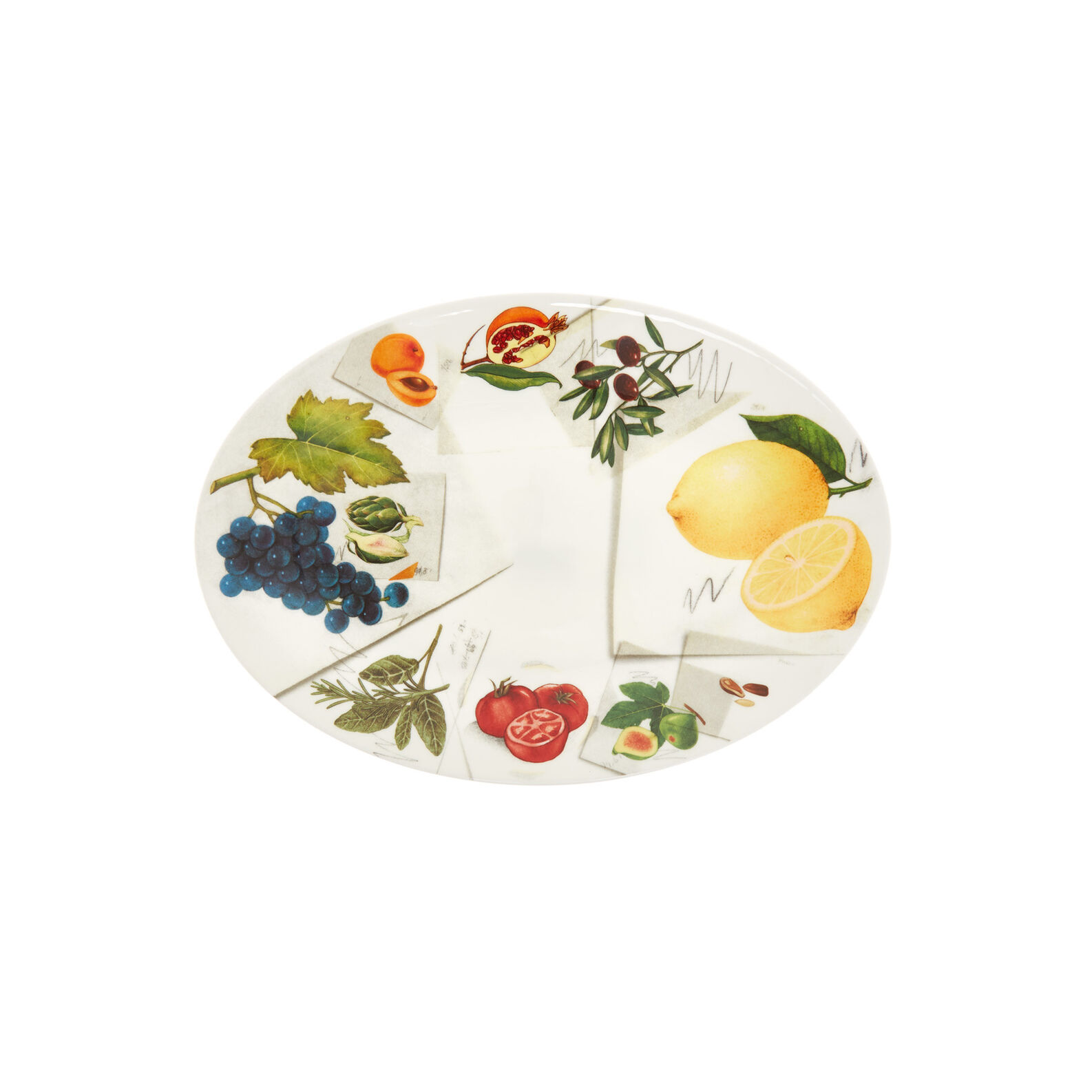 Fine bone china oval plate with vegan La Cucina Italiana decoration