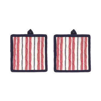 Set of 2 pot holders in 100% striped cotton