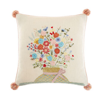 Embroidered cushion 45x45cm