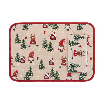 Table mat and napkin set in 100% cotton with Christmas print