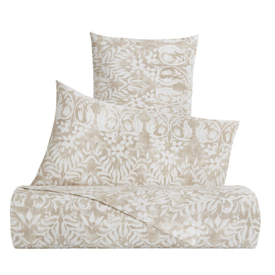 Duvet cover set in cotton percale with ornamental pattern