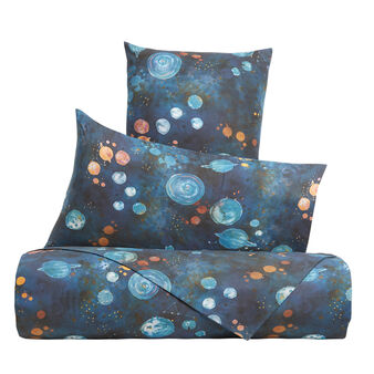 Flat sheet in cotton percale with universe pattern