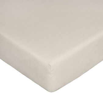 Solid colour fitted sheet in linen blend