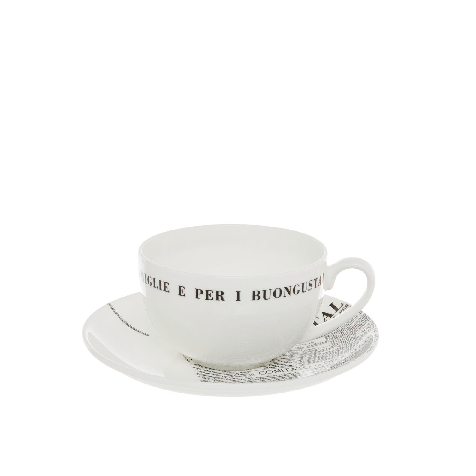 Fine bone china tea cup with geometric La Cucina Italiana decoration