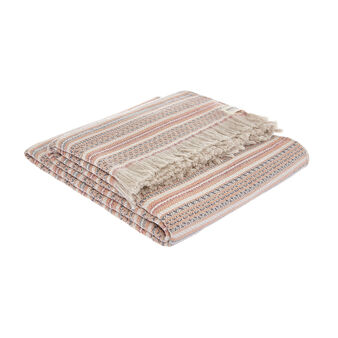 Striped throw in 100% cotton