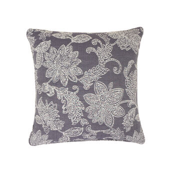 Cushion with jacquard flowers