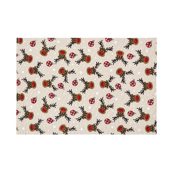 100% cotton table mat with Rudolph print