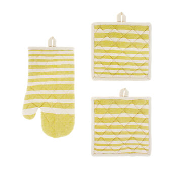 Set of 2 pot holders and an oven mitt in 100% striped cotton