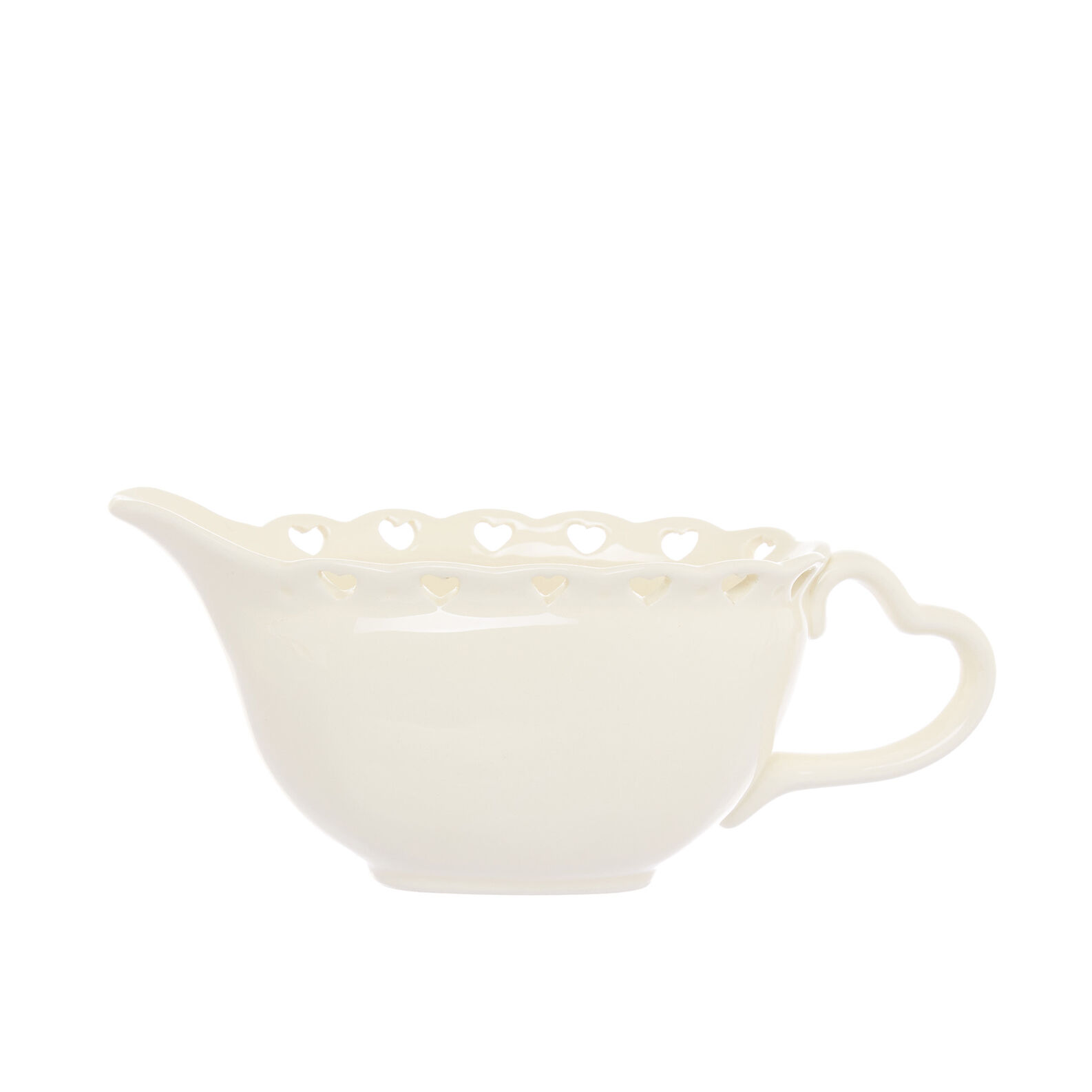 Ceramic sauce boat with openwork hearts