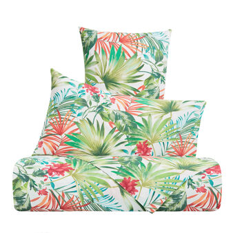 Cotton satin duvet cover set with tropical pattern