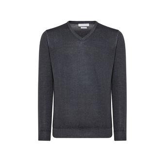 Pullover lana merinos scollo a V