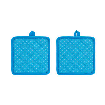 Set of 2 pot holders in 100% cotton with polka dot trio print
